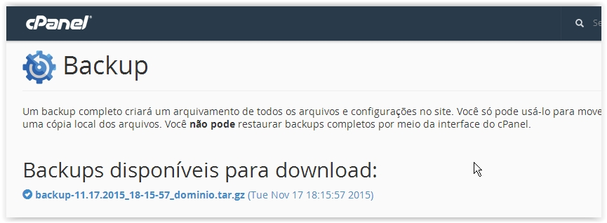 Download backup completo cPanel
